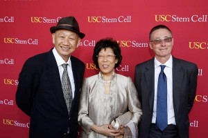 From left, philanthropists Kin-Chung Choi and Amy Choi with Andy McMahon, chair of the executive committee of USC Stem Cell. (Photo by Steve Cohn)