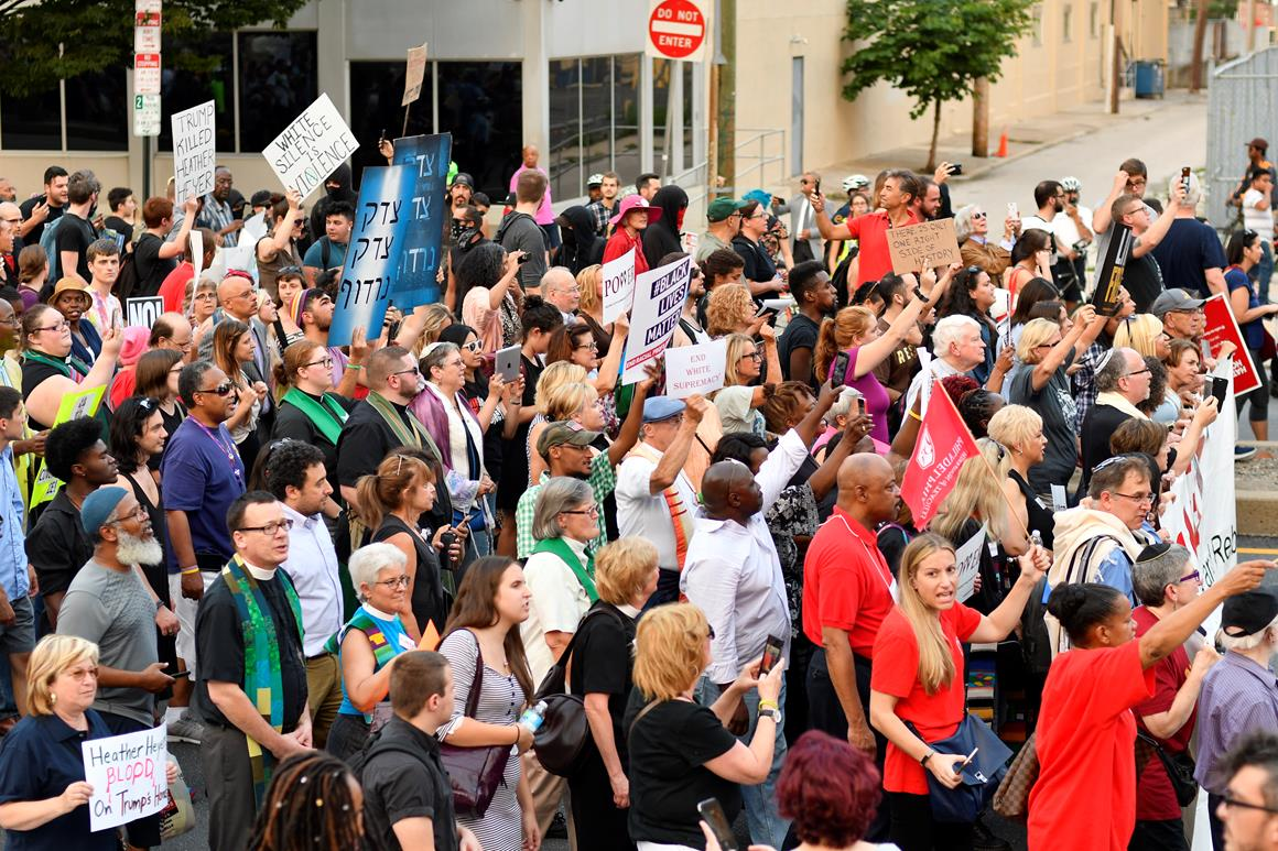 """Thousands of protestors participated in the """"Philly is Charlottesville"""" march, in Philadelphia, on Aug. 16, 2017. Demonstrations have been held following the clashes between white supremacists and counter-protestors in Charlottesville, Va., the weekend of Aug. 12. (Photo by Bastiaan Slabbers/NurPhoto/Sipa USA)(Sipa via AP Images)"""